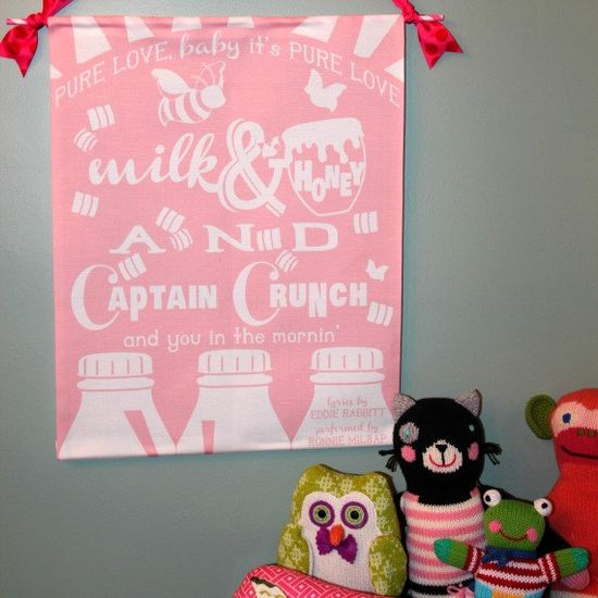 """Milk & Honey LINEN PRINT in Pink by The Whimsey Chronicles . . . """"Pure love, baby it's pure love ... milk & honey and Captain Crunch and you in the mornin' """""""