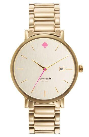 kate spade pink spade gold watch