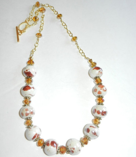 Amber Spotted Beaded Necklace on Gold Chain by CloudNineDesignz, $40.00