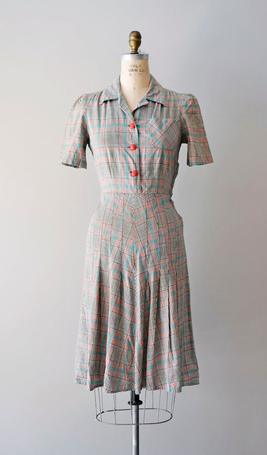 1940s Hi-de-ho Plaid dress