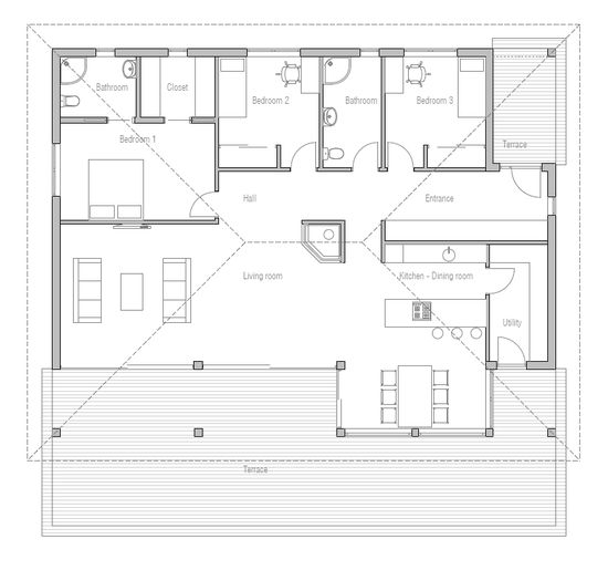 Simple & affordable small house plan with open plan and three bedrooms.