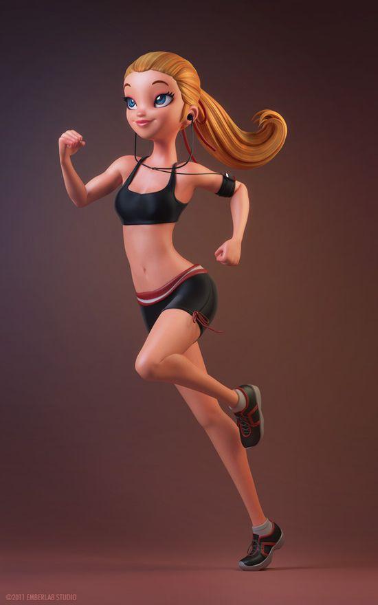 Jogging - Modelado 3D por Carlos Ortega Elizalde (stroggtank)