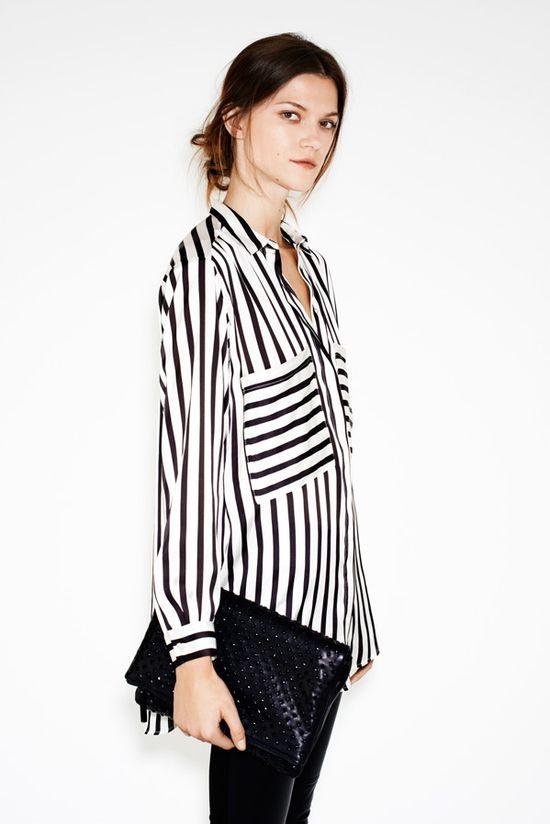 Zara Woman December Lookbook. Black and White Striped Pajama Style Blouse