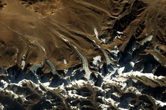 """Chris Hadfield tweets from space — """"Glacier tongues in the Himalayas."""""""