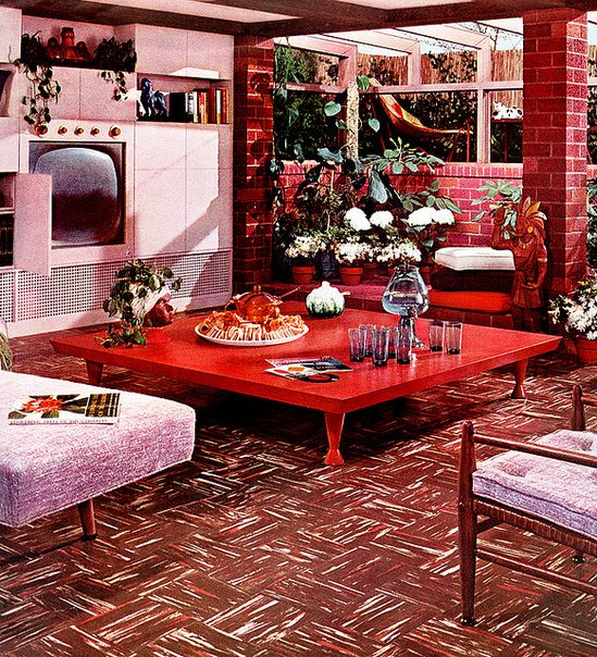 Living Room (1955) Armstrong flooring ad