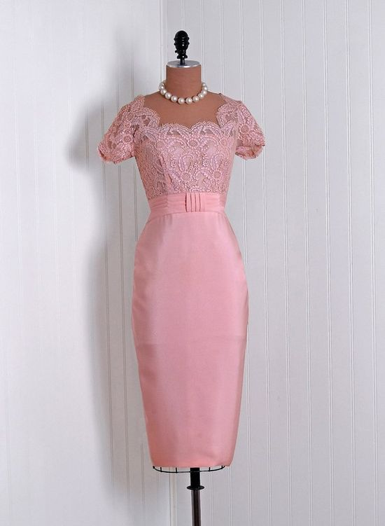 1950's Emma Domb Pink Chantilly-Lace and Silk-Rayon Cocktail Dress