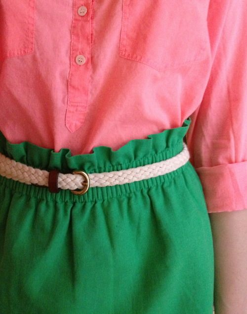 Springing into the season in pink and green.