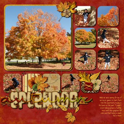 Autumn scrapbook page layout with many photos