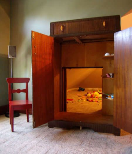 "Childrens playroom hidden ""within"" a wardrobe.  Clever"