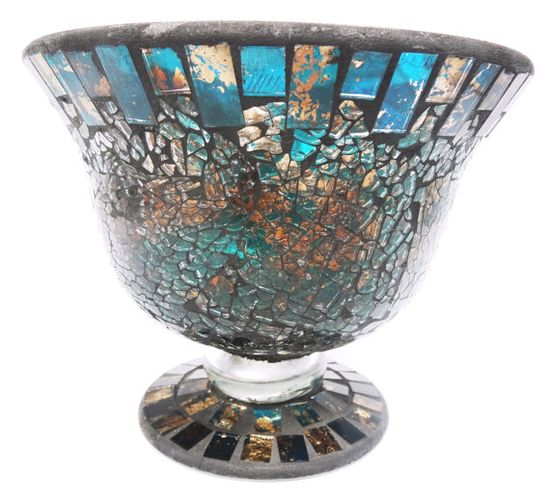 Vintage Glass Mosaic Bowl Hand Made Turquoise by TinLizzyTreasures, $69.99