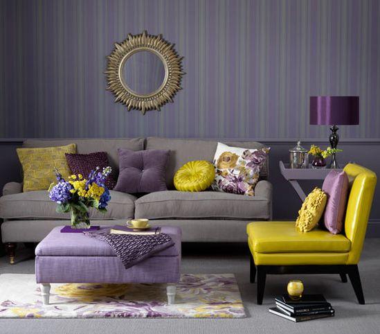 Purple room with yellow decor