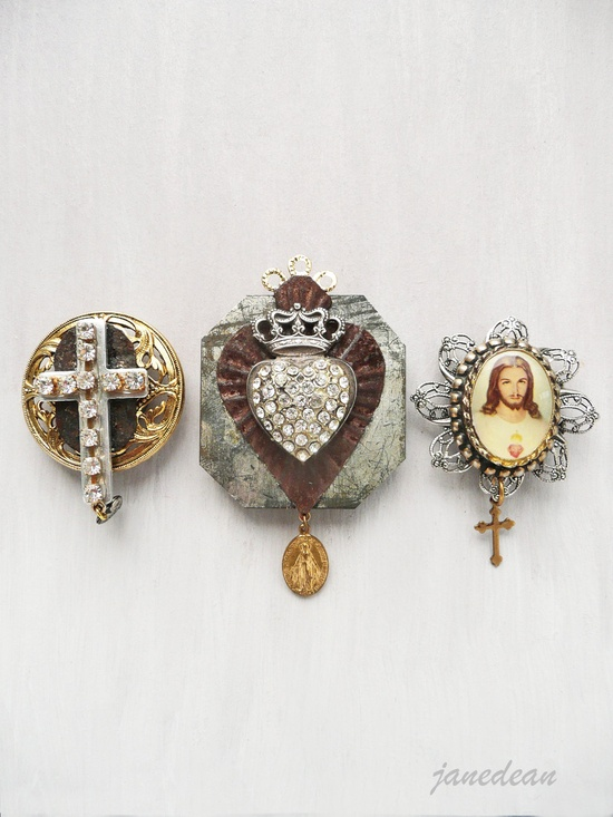 3 Sacred Heart Magnets - recycled vintage jewelry and found objects