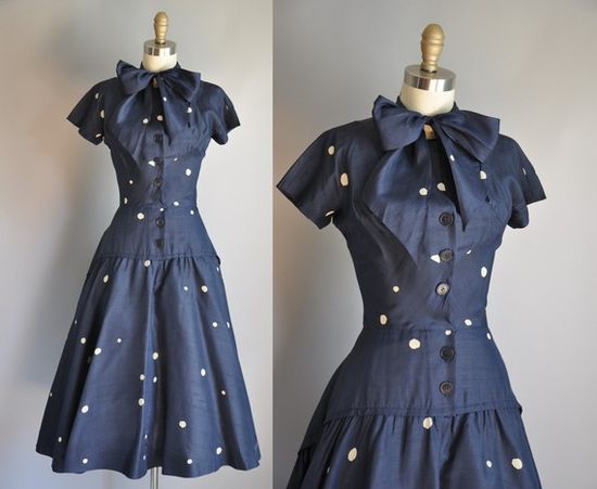 vintage 1950s navy blue silk dress from Simplicity is Bliss