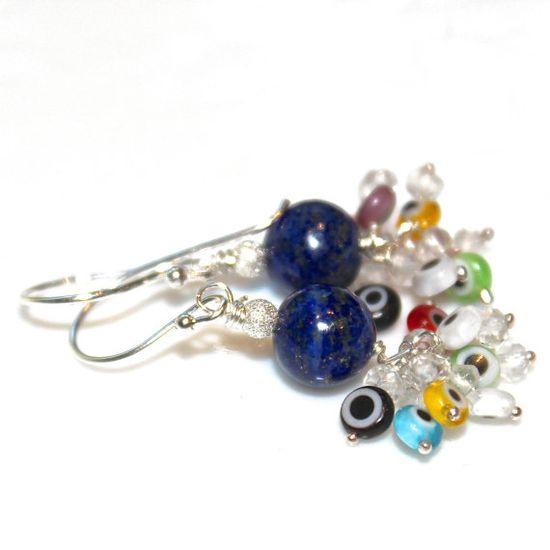 Lapis Lazuli Earrings Evil Eye Earrings Multicolored by FizzCandy #evileye #earrings #jewelry #fizzcandy #lapis