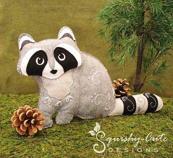 Raccoon Sewing Pattern PDF - Woodland Stuffed Animal Felt Plushie - Rita the Raccoon. $5.00, via Etsy.