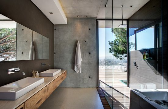 concrete + wood details in indoor-outdoor modern bathroom design by SAOTA and Three 14