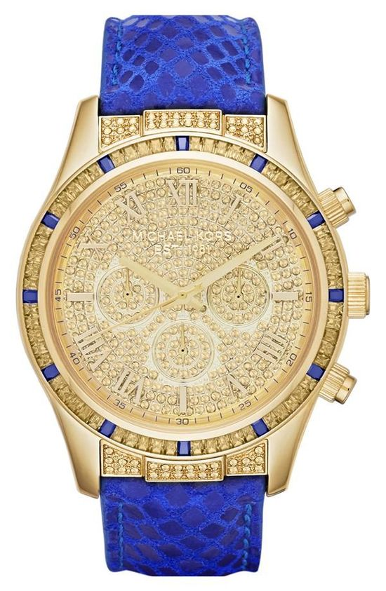 Can't get enough of this blue & gold Michael Kors watch! Michael Kors, you are a God!