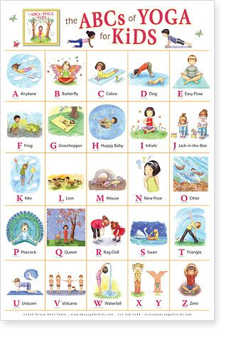 The ABCs of Yoga for Kids Poster by Kathleen Rietz: Illustrations from the book with the same title by Teresa Power and illustrated by Kathleen Rietz. #Illustration #Yoga #Kids #ABCs