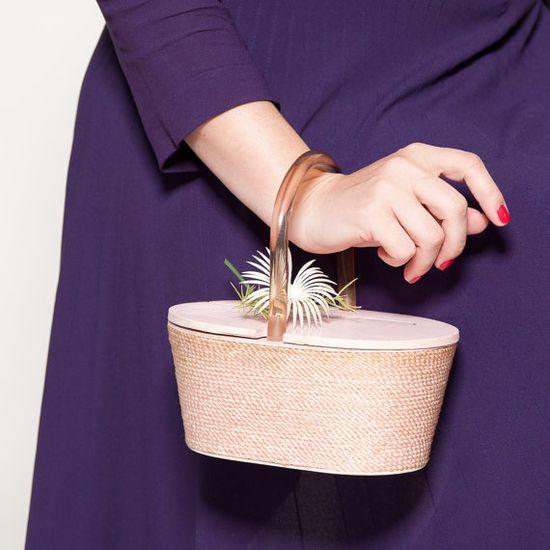 Vintage 1950s Pink Box Purse Lucite Handle Spring Flower Wedding Bridal Fashions via Etsy
