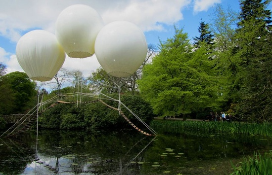 Helium Balloon Bridge Installation at Tatton Park #art #installation #architecture