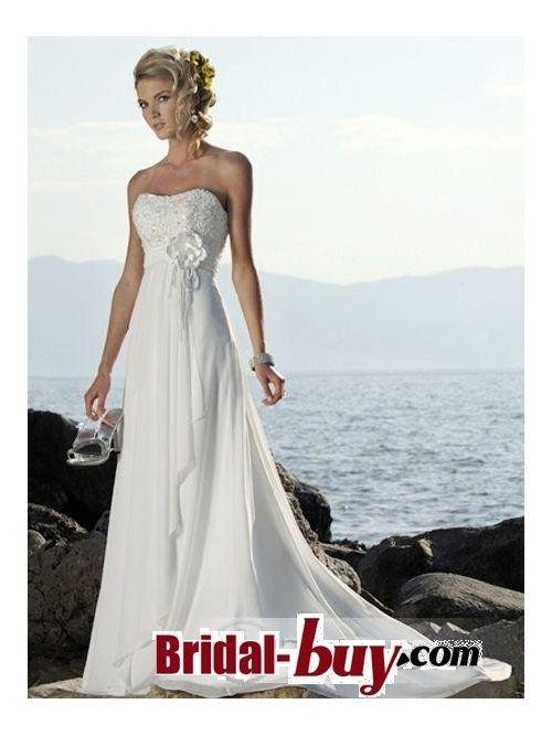 White Empire Line Waist Sweetheart beach Wedding Dress Vintage Style S