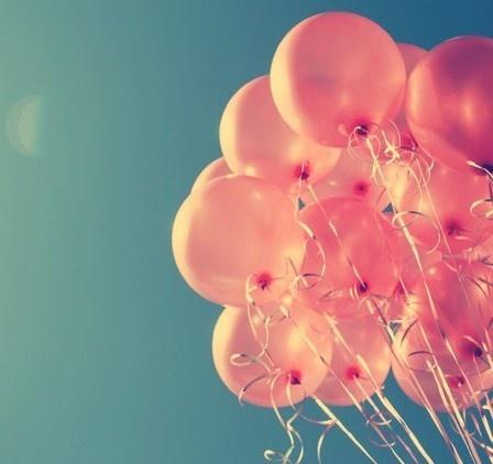 pink balloons.
