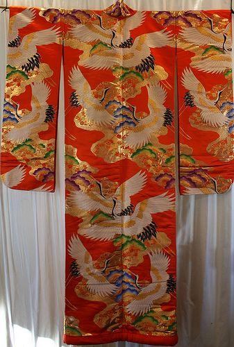 Japanese silk crane wedding kimono