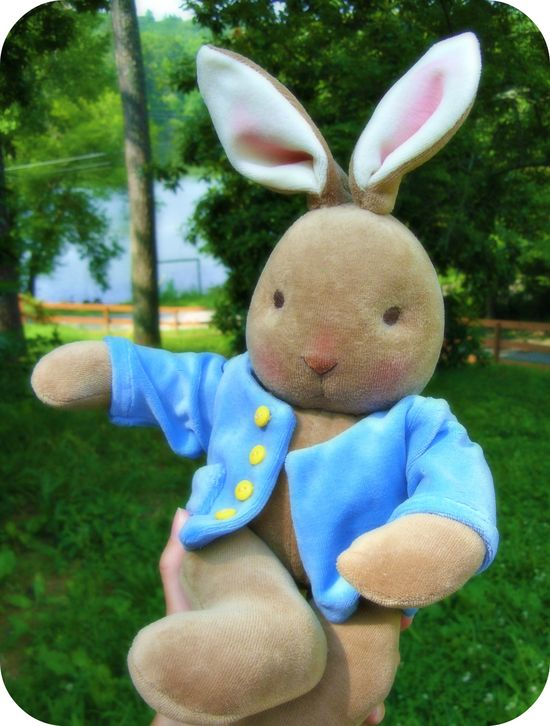 Waldorf bunny doll with a Peter Rabbit coat.