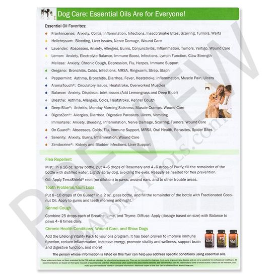 Essential OIls for Dog Care Guide Sheet Tear Pad