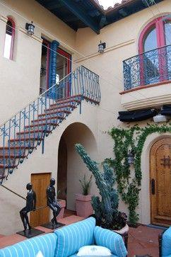 "Mediterranean Home Design,  ""Outside staircase over patio"""