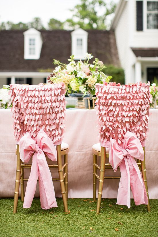 Pink wedding chairs.