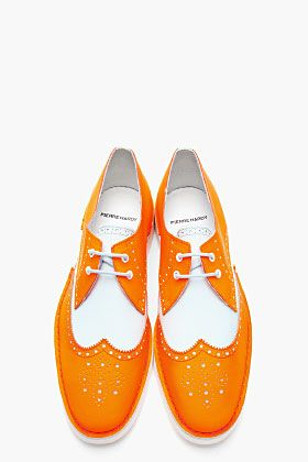 PIERRE HARDY Neon Orange Colorblock BY10 Wingtip Brogues