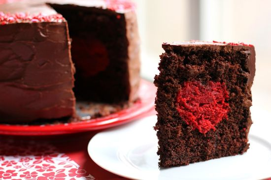 chocolate cake with a red velvet heart!