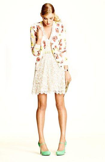 Lace dress, floral cardi, mint shoes - it must be spring!