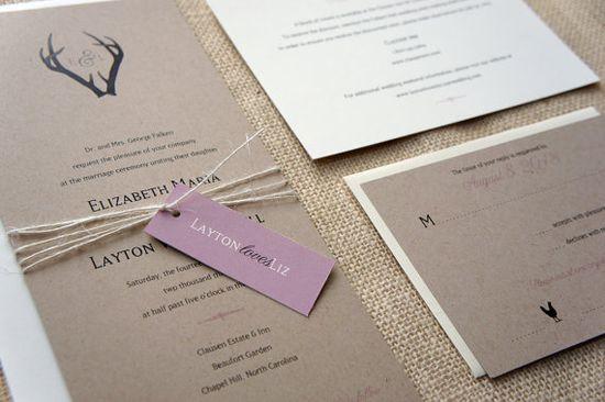 Sample Monogram Antlers Wedding Invitation by DawnCorrespondence