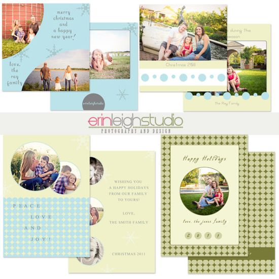 Christmas Card PSD Templates for Photographers by ErinLeighDesign, $8.00