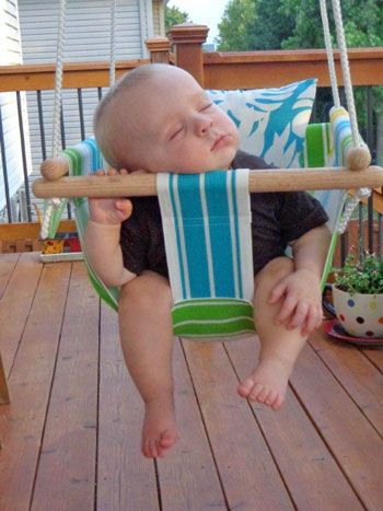 DIY Hammock-Type Baby Swing...with instructions.