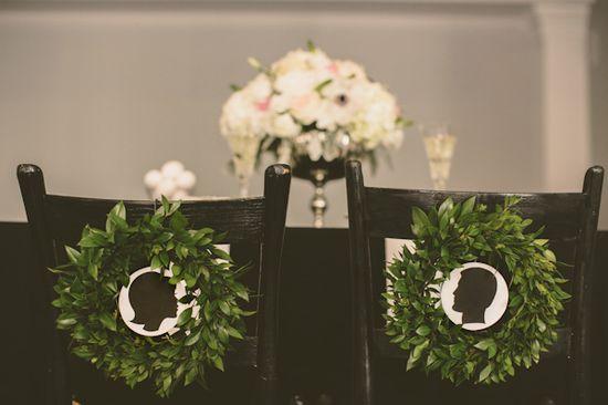gorgeous silhouette + wreath chair decor