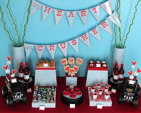 Boy themed Valentine's Day dessert table