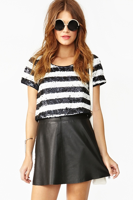 Sequin Stripe Crop Top + leather skirt