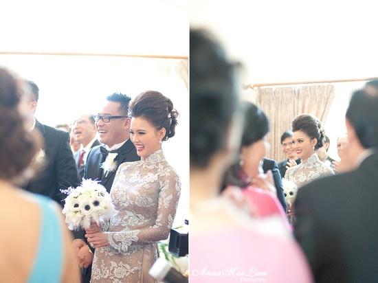 Grey lace ao dai wedding dress.