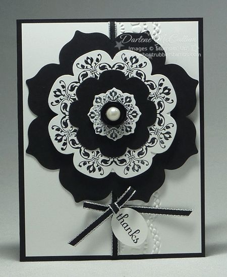 handmade card ... sophisticated black and white with a touch of silver and a pearl ... gorgeous!! ... layered medallion using Daydream Medallions Stamp Set and Floral Framelits to cut the layers ... Stampin' Up!