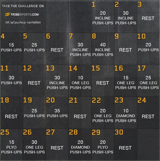 30 Day Push Up Variations Challenge