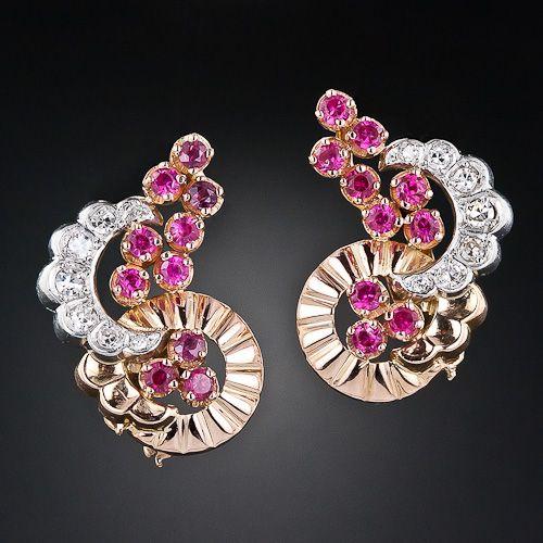 Retro Ruby and Diamond Earrings