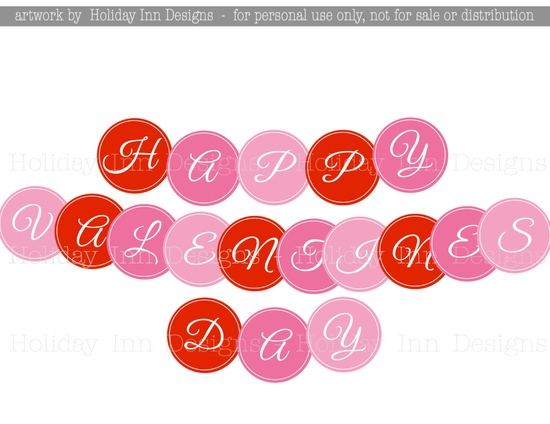 Happy Valentines Day Printable Party Banner - Circles - DIY Printable, Print Your Own. $3.00, via Etsy.