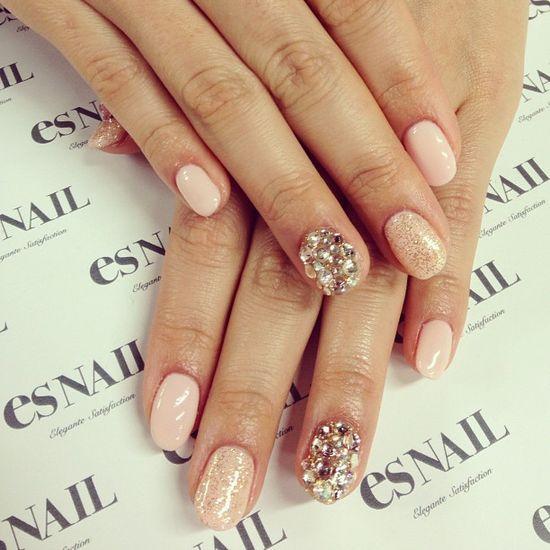Pink base w glitter and stones nails ;)) ☆ #nail #esnail #melrose #japanese #la #gelnail #salon #pink #glitter #stone - @esnail_la
