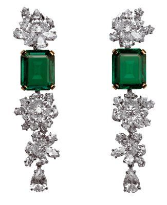Rock Your Body: Emerald and Diamond Earrings by BVLGARI