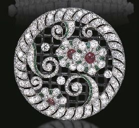 ART DECO DIAMOND, EMERALD, RUBY, AND ENAMEL BROOCH