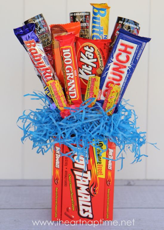 candy bouquet + movie tickets.... love this idea!