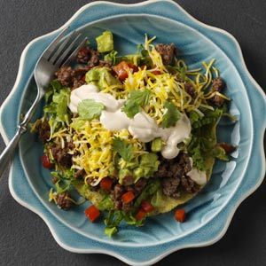 Beef Tostadas Recipe from Taste of Home #quick #dinner
